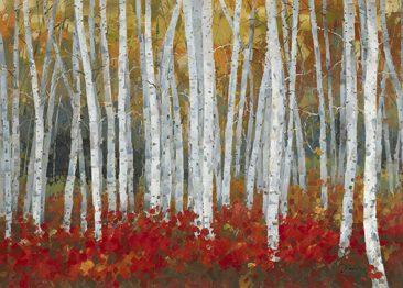 SABODesign, Print&Painting, Bäume, rot, 100 x 140