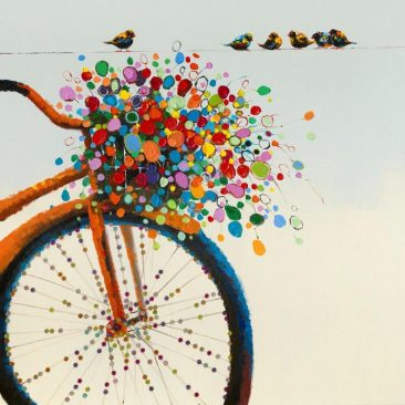 SABODesign, Print&Painting, Fahrrad mit Blumenkorb, 120 x 120