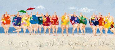 SABODesign, Print&Painting, Frauen am Strand, 70 x 160