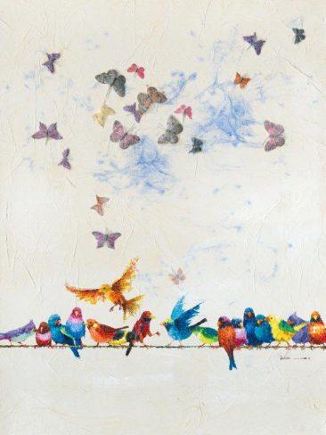 SABODesign, Print&Painting, Vögel und Schmetterlinge, 120 x 160