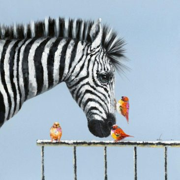 SABODesign, Print&Painting, Zebra und Vögel, 120 x 120