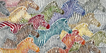 SABODesign, Print&Painting, bunte Zebras, 140 x 70